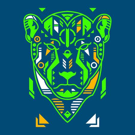 Vector Illustration. Neon Cheetah Head in Blue Background. Unique Lineart Style Standard-Bild - 120717124