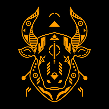Vector Illustration. Orange Bull Head in Black Background. Unique Lineart Style Standard-Bild - 120717145