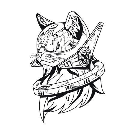 Vector illustration. Future cat in white background. For t-shirt design, poster, sticker. Line Style Standard-Bild - 120717129