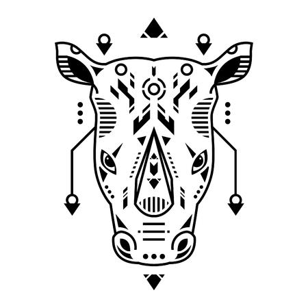 Vector Illustration. Rhino Head in White Background. Unique Lineart Style Standard-Bild - 120717133