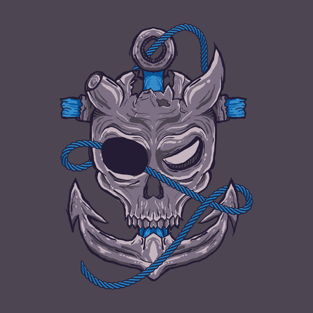 Vector illustration. Pirates skull in dark background. For t-shirt design, poster, sticker Standard-Bild - 120717138