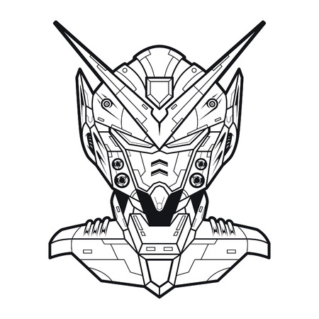 Vector illustration. Mecha NP16 in white background. For t-shirt design, poster, sticker. Line Style Standard-Bild - 120717146