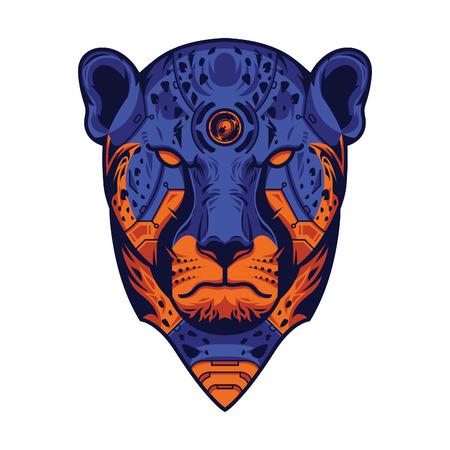 Vector Illustration. Blue and Orange Cheetah Head in White Background Standard-Bild - 120717151