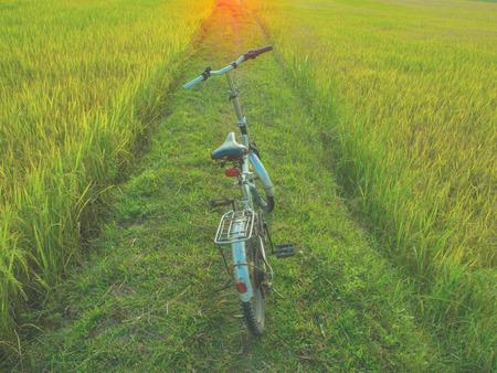 photgraphy: beautiful landscape image with Bicycle at sunrise