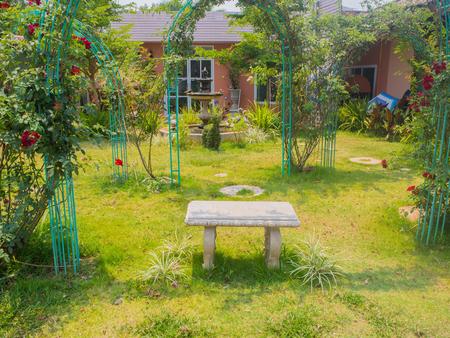 garden bench: Garden bench , White bench in the garden