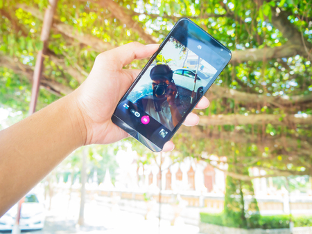 megapixel: Hand held mobile phone screen taking a photo Stock Photo