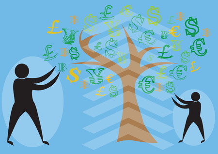 Money tree with various money signs as leaves.vector Illustration