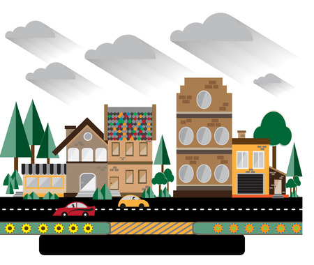 city life: City life, flat style with building and cars,City life and urban landscape vector illustration. Illustration