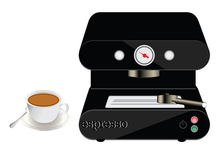 Espresso,coffee maker on a white Illustration