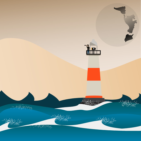 moutain: Man on lighthouse beside the sea and mountain - Illustration