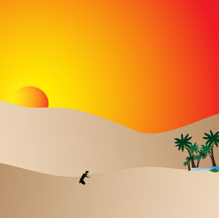 Man lost in desert. Man trying survive,Vector, illustration Stock Photo