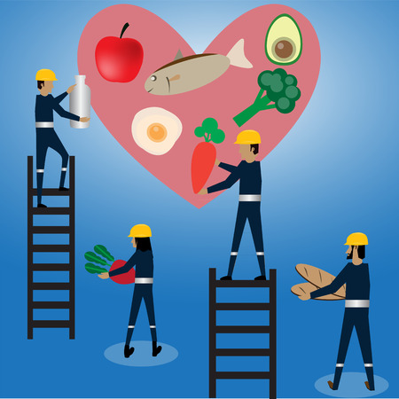 maintenance heart with food,vector Stock Photo