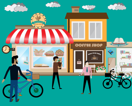 Front store in flat style set with human and bicycle vector illustration.