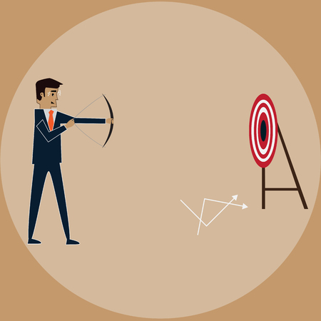 Businessman try to break the target but fail,vector Stock Photo