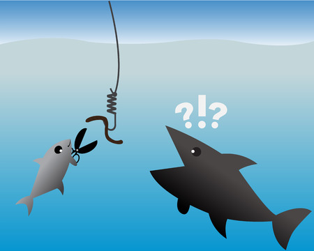 Business Concept,Small Fish use scissor cut a hook for worm.,vector,illustration