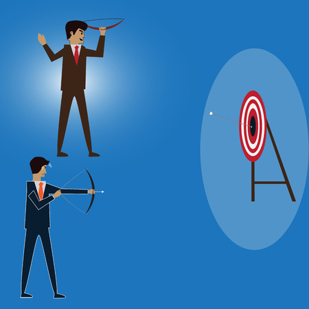 Businessman try to shoot the target and someone do itl,vector