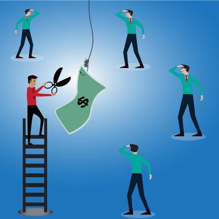 award winning: Businessman try to stole money from a hook,vector,illustration Stock Photo