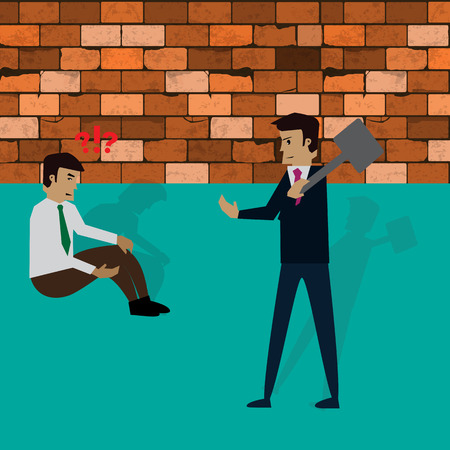 businessman try to break a brick wall with hammerl,vector