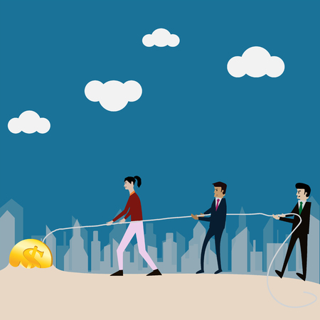 Business teamwork,Businessman try to bring money from the ground,vector Stock Photo
