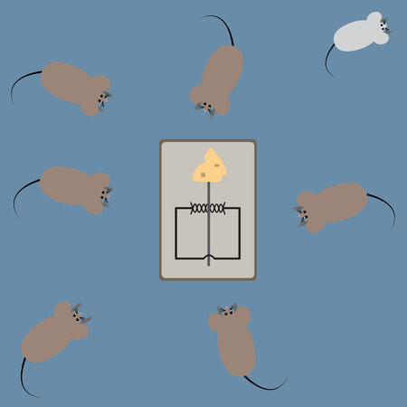 Rat try to stole cheese on trapped with hook. - Illustration  Stock Photo