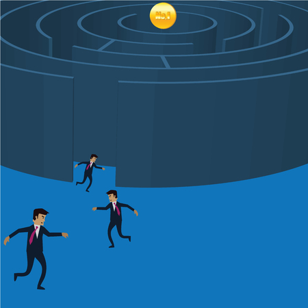 complicated journey: Businessman running into the maze for golden coil No1. Vector illustration