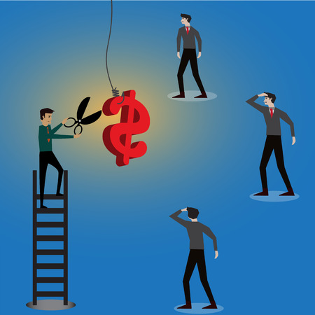 Businessman try to stole money from a hook,vector,illustration Stock Photo