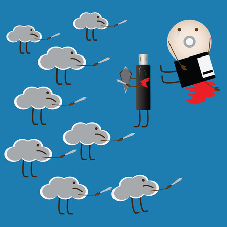 Cloud computing kill another storage and  change the world, vector, illustration.