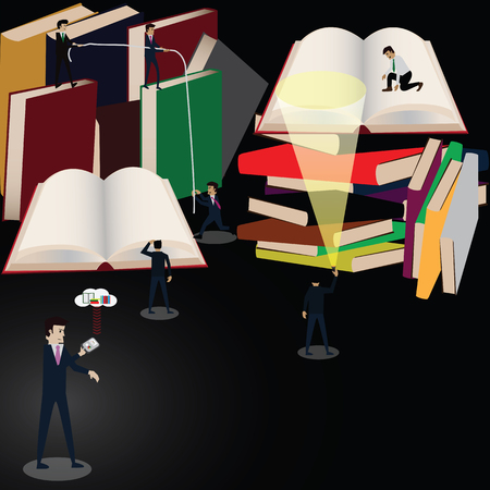 New lifestyle in future,everybody read ebook from book reader., vector, illustration. Illustration