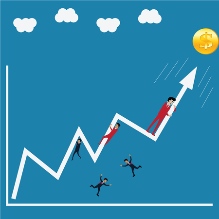 Business success, try to crash the growth up arrow - Illustration