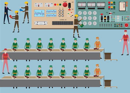 Workday in factory,industries worker- Illustration
