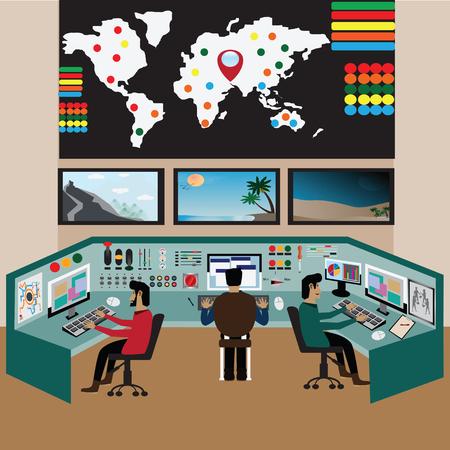 Arbeider bij controlekamer, die op ruimte letten - vector, Illustratie Stockfoto - 80958495