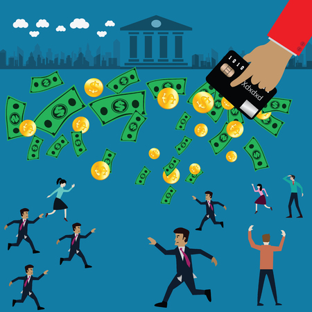 conquering adversity: Money flying from man pocket into plastic money,credit card - vector Illustration