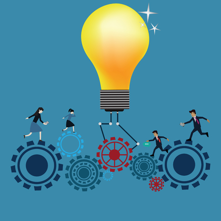 incentive: Teamwork Concept,Business workers running on gears - vector, Illustration