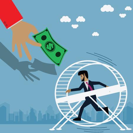 Business Concepts , Businessman running on wheel - Vector , Illustration