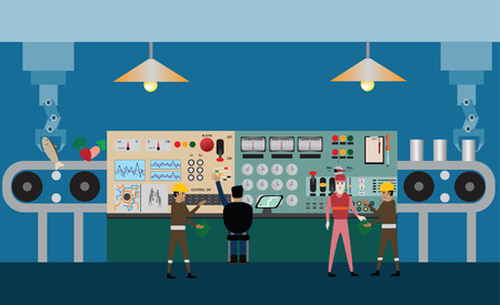 Workday in factory,Automatic machine - Illustration