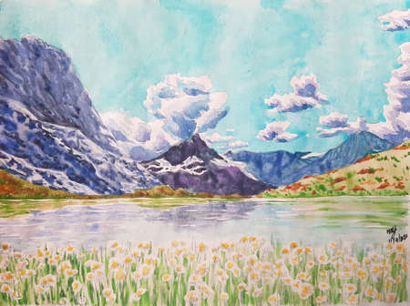landscape  painting of beautiful lake background.