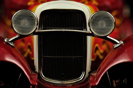 grill and headlights of a hotrod