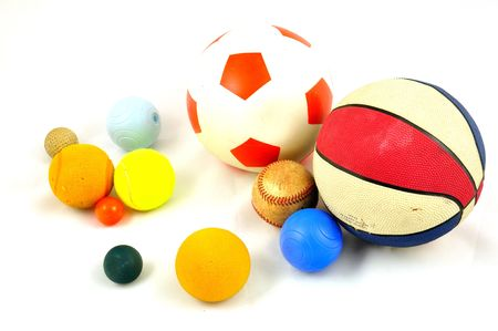 game over: all kind of balls isolated on a white background Stock Photo