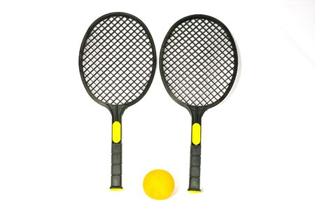 pair black rackets isolated on a white background