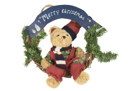View of an elegant christmas wreath with bear photo