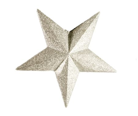 view of an silver christmas star isolated on white