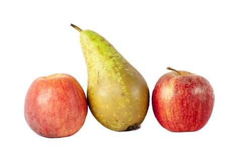 apples and pear isolated on a white background