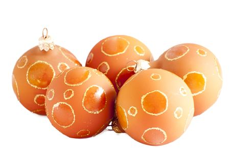 close up of christmas balls isolated on a white background