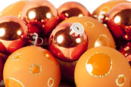 close up of christmas balls isolated on a white background Stock Photo - 8152854