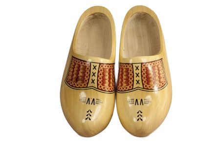 pair wooden shoes isolated on a white background Stock Photo
