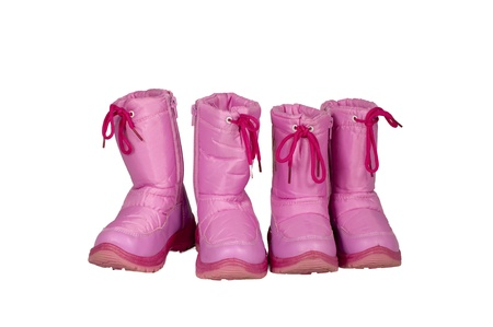 isolated pink snow boots Stock Photo