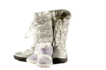 silver snowboots isolated on a white background Stock Photo - 8362579