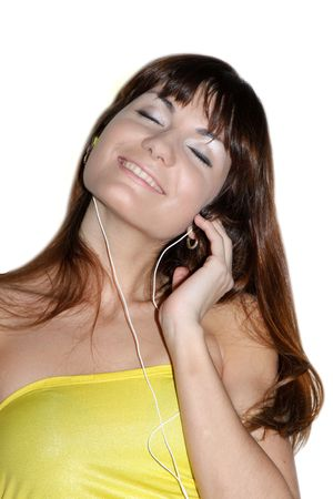 This is a picture of a girl listening to the music Stock Photo