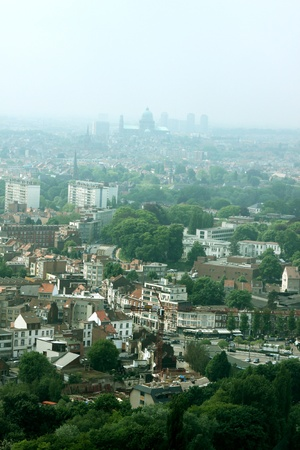 This is a photo of Brussels, Belgium from the Atomium buiding. Stock Photo