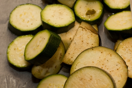 Closeup image of sliced courgettes Stock Photo